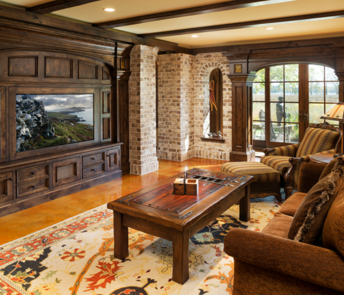 traditional style mediawall with dark wood stain built in brick