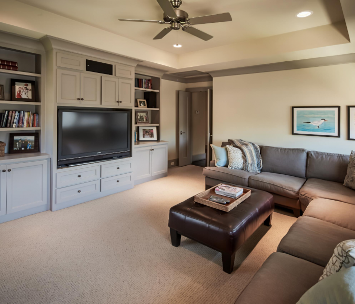 traditional style media wall in gray