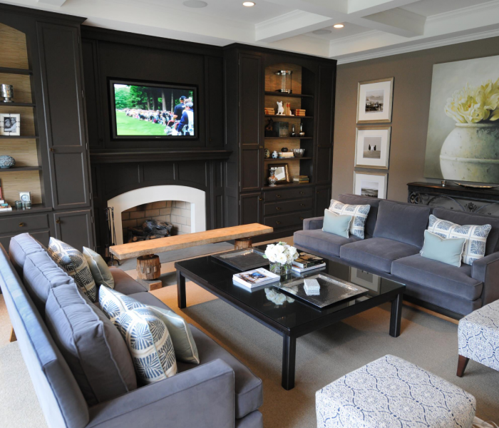 transitional style media wall in gray built in