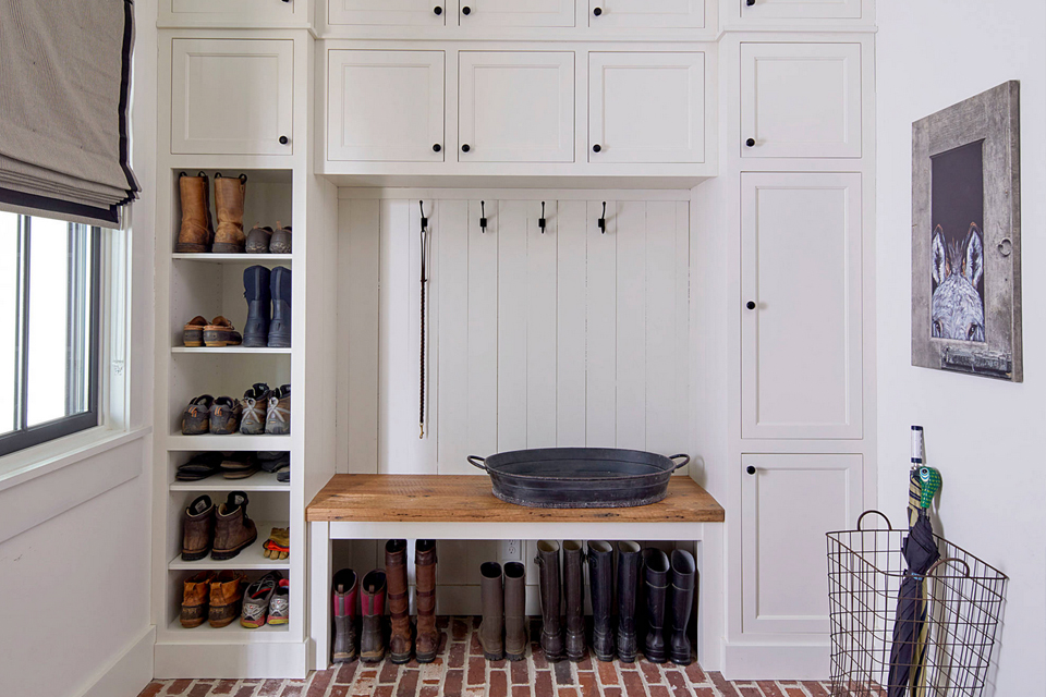 shaker style mudroom cabinetry in white