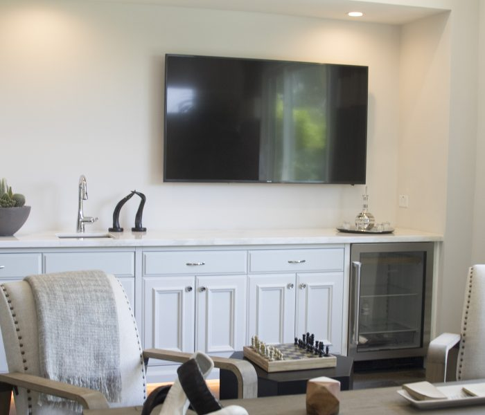 transitional style office credenza in white with white countertops