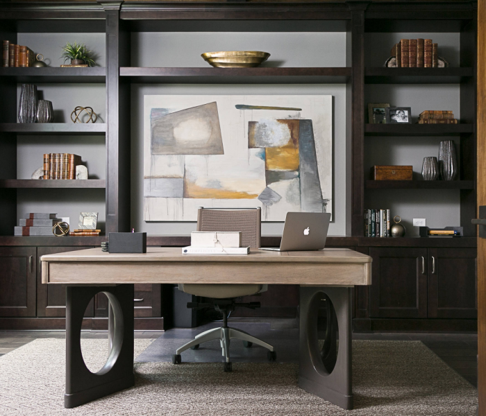 transitional style office credenza in dark wood stain