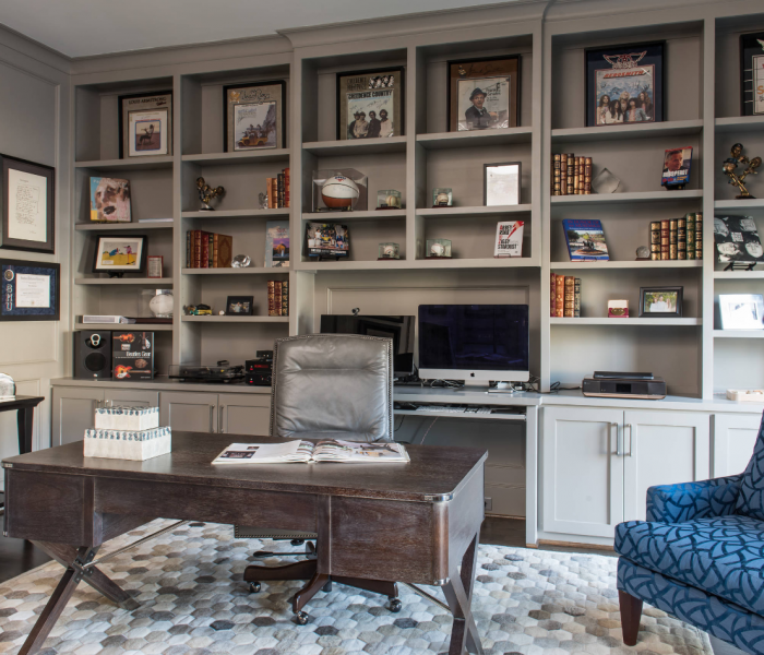transitional style office credenza in gray
