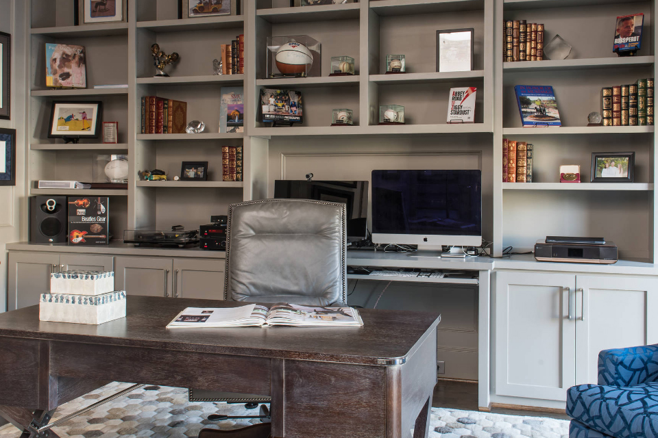 transitional gray home office