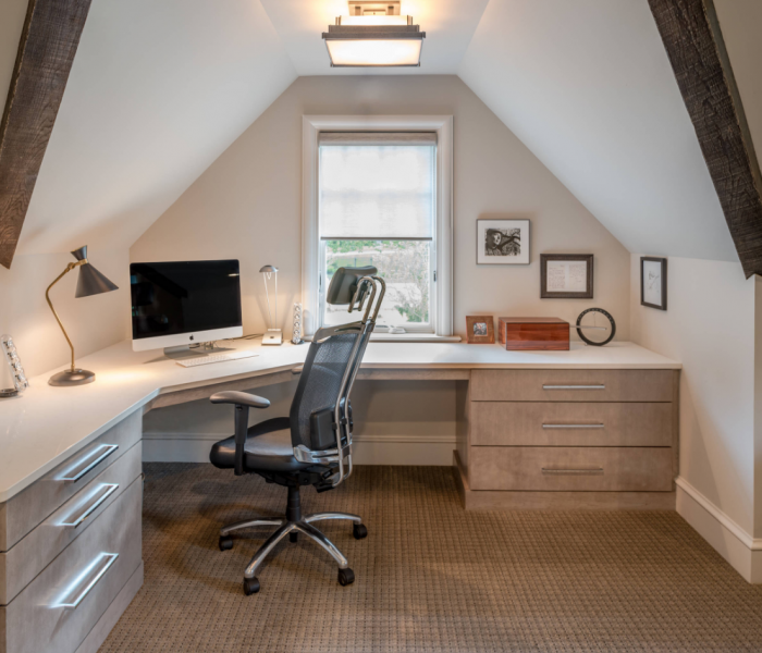 modern style corner office in antique wood stain and white quartz table top