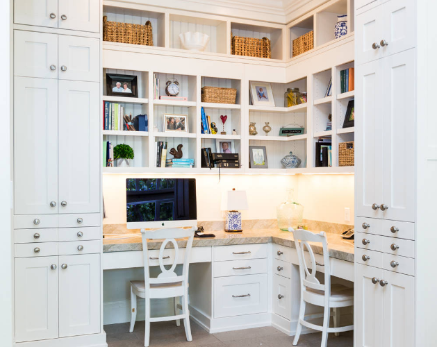 shaker style office for 2 in white with natural wood stain table top