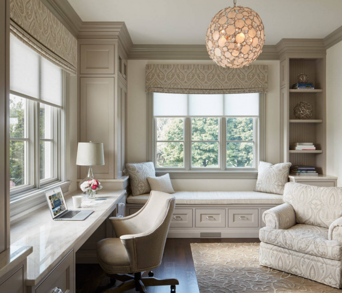 traditional style office and bench in white and gray