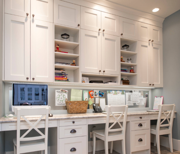 transitional style office for two in white with quartz table top
