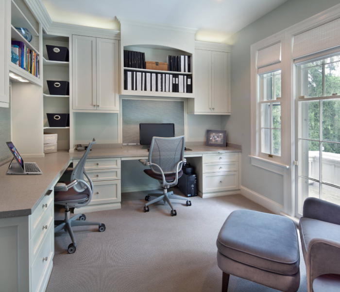 transitional style office for two in white with gray quartz table top