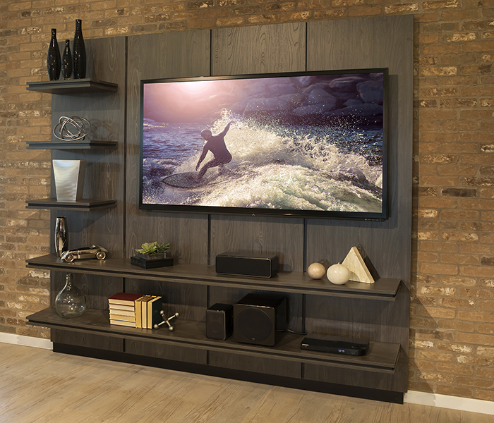 stone creek furniture wall mounted modern dark wood media wall with two shelves