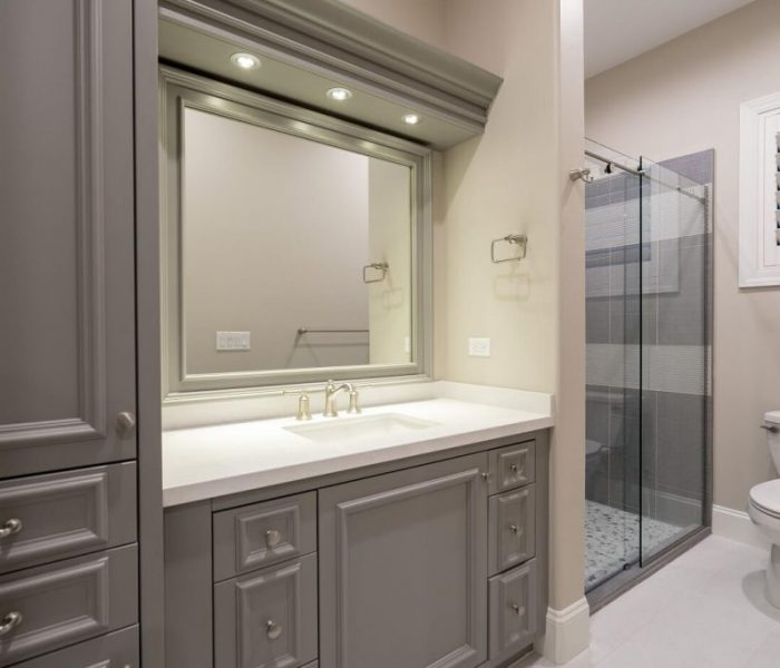 transitional style bathroom vanity in gray with white counter tops