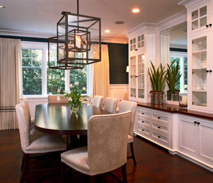 shaker style dining room in white with natural wood countertops