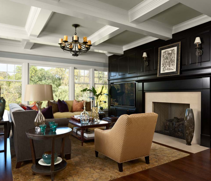 transitional media wall in dark wood stain with a joining fireplace